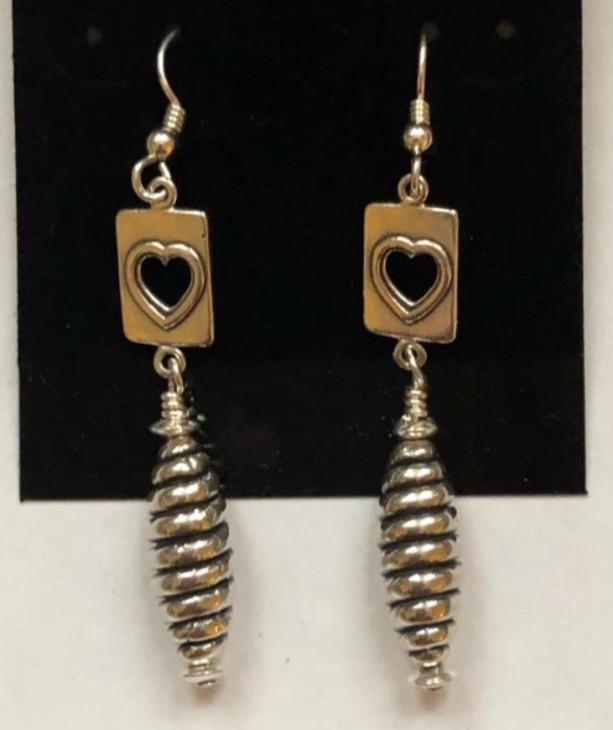 Sterling silver dangle drop earrings with cut-out heart motif