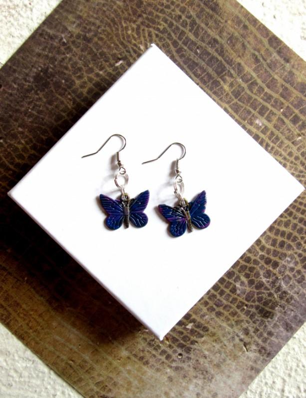 Blue Butterfly Earrings, Small Butterfly Earrings, Butterfly Jewelry, Butterfly Accessory, Gifts for Her, Earrings Butterflies Moth Earrings
