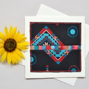 Southwest style patchwork card -- handmade mini modern quilt block