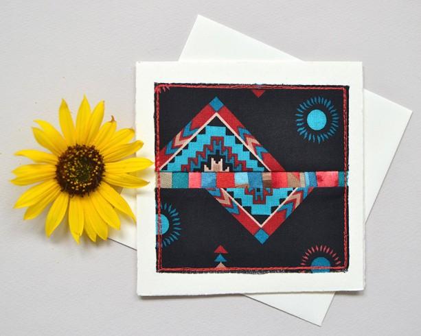 Southwest style patchwork card -- handmade mini modern quilt block