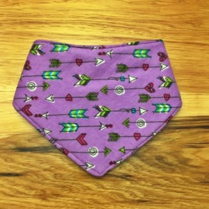 Set of 2-Boho Feather and Purple Arrow Bandana Bib-2 Baby Girl Bib bandanas-Rustic drool bibs-drool catcher-arrow bib-Baby girl shower gift