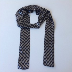 Black Extra Long Scarf Chevron print 83X3