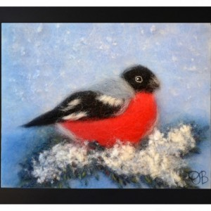 "Wool Painting ""Bullfinch on a fir branch"""