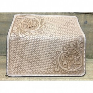 Floral basket weave check book cover