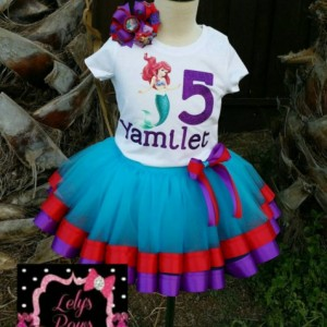 Personalized Ariel ribbon trimmed tutu set , Little mermaid Ariel tutu, ribbon trim tutu, custom tutu, birthday outfit, Ariel party, Ariel