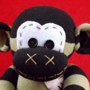 Sock monkey : Cole ~ The original handmade plush animal made by Chiki Monkeys