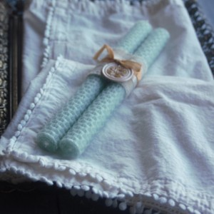Mint Colored Rolled Honeycomb Beeswax Candles