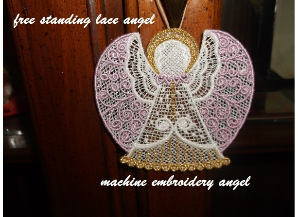Fsl Embroidered Design Of Angel With Pink Wings On Aftcra Aftcra