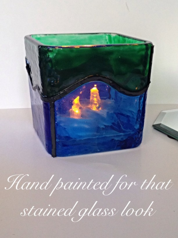 Hand Painted Large Blue Green Waves Square Faux Stained Glass Candle Holder