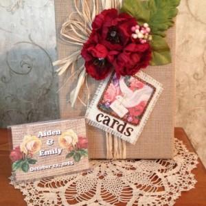 Rustic wedding card box,card holder for wedding reception,vintage card,shabby chic, wedding centerpiece, card box,burlap wedding card box