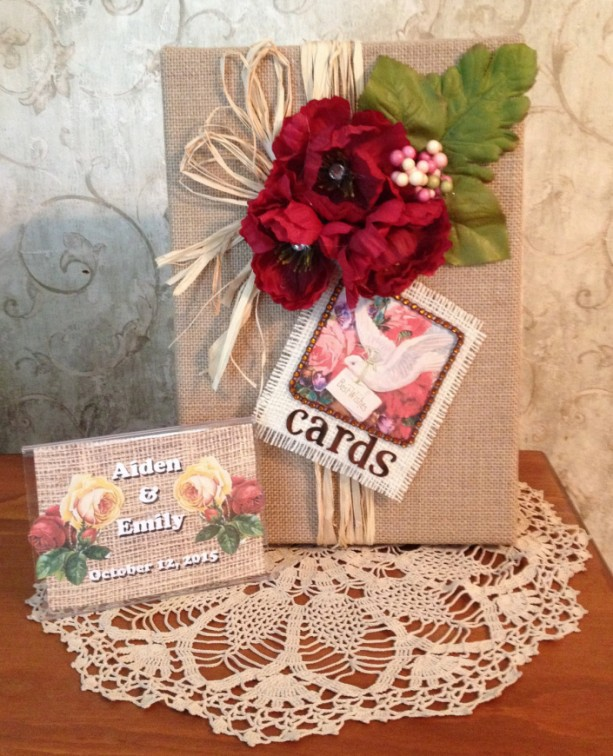 Rustic wedding card box,card holder for wedding reception,vintage card,shabby chic, wedding centerpiece, card box,burlap wedding card box