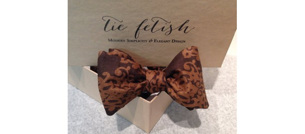 Brown damask freestyle or pre tied bow tie