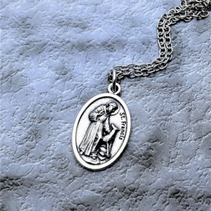 Personalized Silver Plated Saint Francis of Assisi Necklace. Bless and Protect My Pet Necklace. Patron Saint of Dogs Necklace