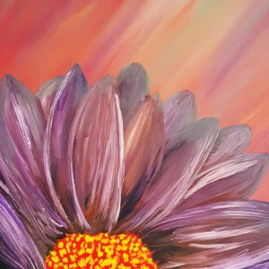 Oil Painting on Canvas-Original Artwork-Purple Red Painting- Floral Art- Purple Daisy Flower- Botanical- Sarah Floyd