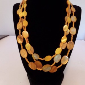Triple strand Orange Shell Pearl Necklce