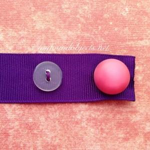 Bookmark, Purple Ribbon & Vintage Dark Pink Button