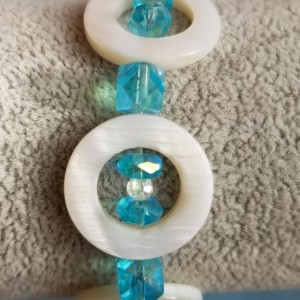 shell beads with blue