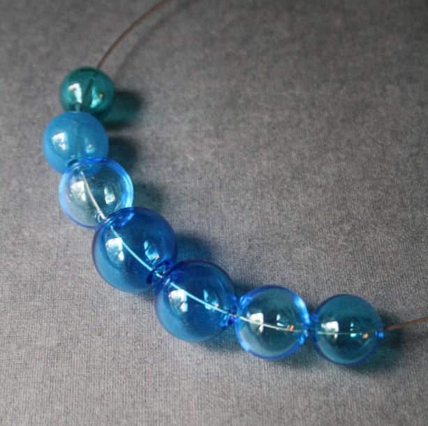 Blown Glass Necklace - Blue Hollow Lightweight Glass