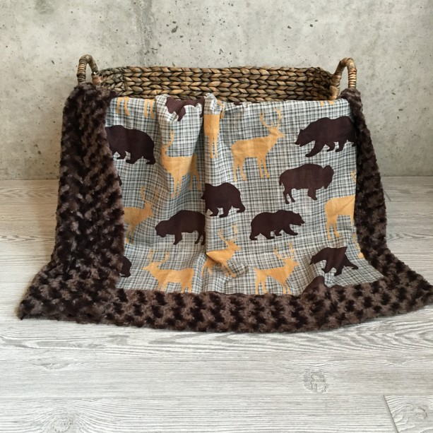 ShipsNow Minky Baby Blanket Mountain Lumberjack Bear, Bison, and Deer
