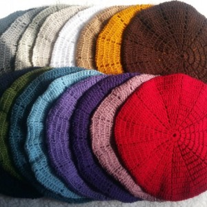 Stylish, Lightweight Beret Acrylic Lace Crochet Hat in 16 Colors - Brown, Tan, Dark Grey, Red, Teal, Lavender, Purple, Beige, Black, White & More