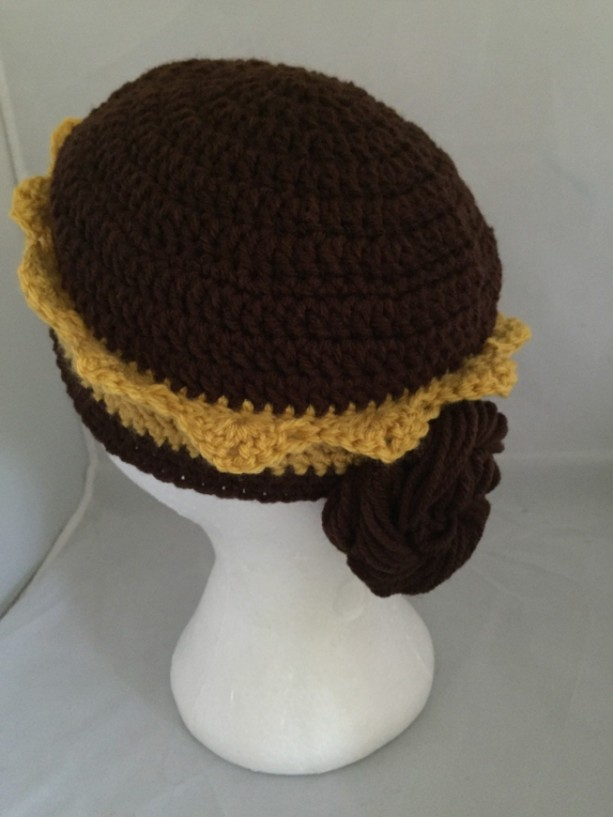 Beauty and the Beast / Belle Hat with crown and braid bun