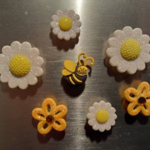 Magnets, 7 Strong Refrigerator Magnets, Cubicle Decor, Locker Magnets, Office Supply,Bee,Bumblebee, Flower,Glitter