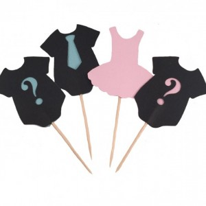 Ties or Tutus Gender Reveal Party Cupcake Toppers - Set of 12