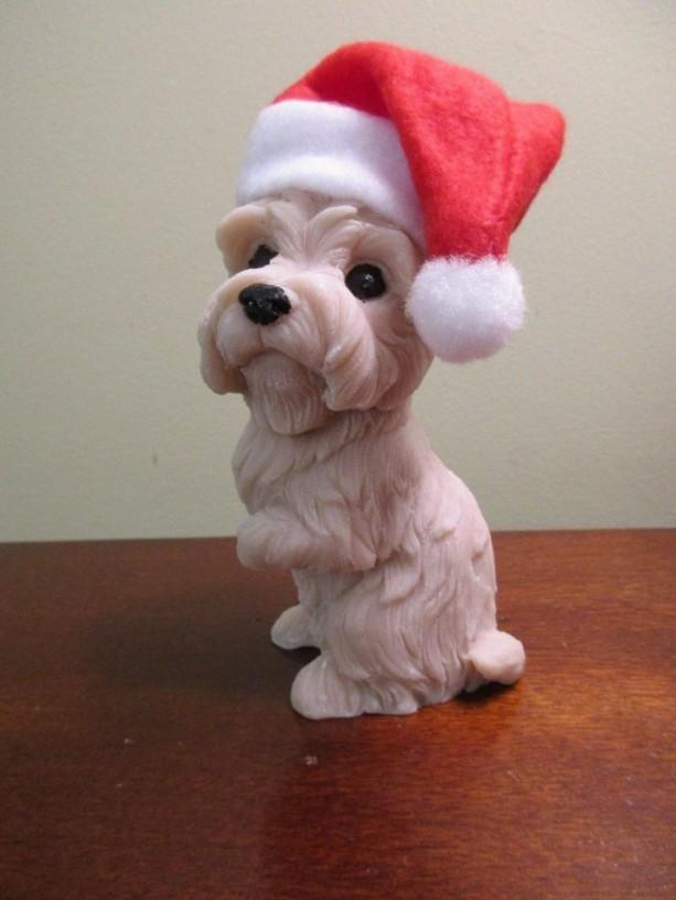 Handmade Soap Dog Santa Hat  Brown Dog