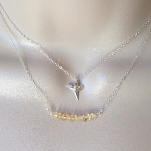 Silver Citrine Necklace - November Birthstone Jewelry  - Tiny Sterling Silver Curved Bar Gemstone Necklace - Gemstone Necklace - Mothers Day
