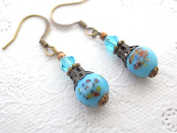 Earring Vintage Sky Blue Speckle Glass Beads,Light Blue,Aqua,Polka Dot