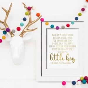 Hold Him A Little Longer, Gold Foil Print, Poem For Godson Baptism Gift Godson, Gift From Aunt, Unique Baptism Gift For New Mom Gift Ideas, New Mom Gift Basket