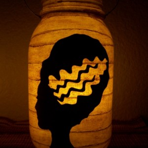 New Grungy Primitive Halloween Bride of Frankenstein Silhouette Lantern Candle Porch Mantel Gift Table Centerpiece Wedding