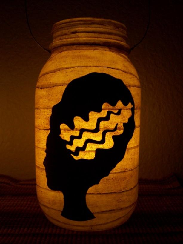 New Grungy Primitive Halloween Bride of Frankenstein Silhouette Lantern Candle Porch Mantel Gift Table Centerpiece Wedding