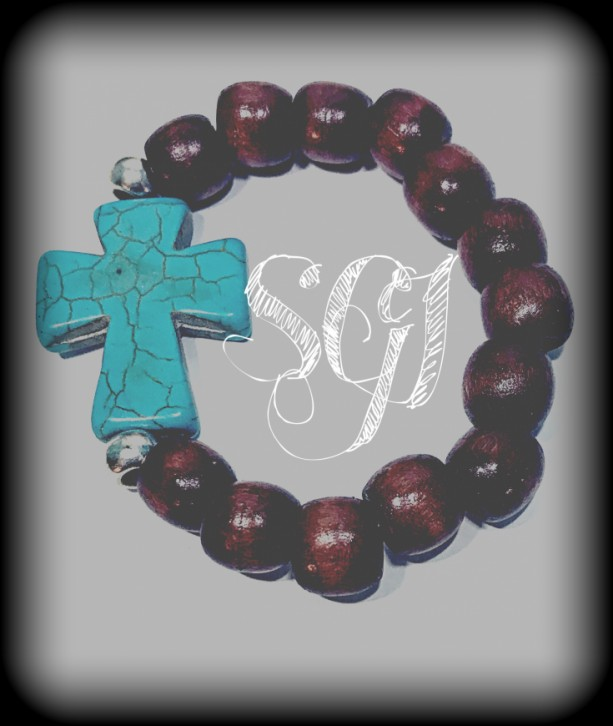 Wood Beaded Cross Stretchie