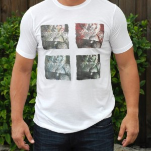 Men's T-shirt, Handmade Printed with Digitally Manipulated Photographic Design