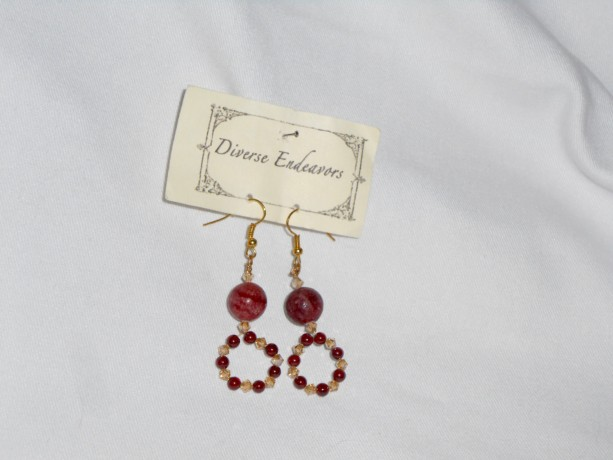 Pink Hemimorphite Earrings with Sangria Garnet, pink crystals, and Gold Plated Ovals Beads
