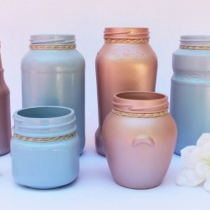Decorative Jar Vase Set of 6 - Baby Shower Decorations - Gender Reveal Ideas - Baby Shower Table Decor - Gender Reveal Centerpiece -
