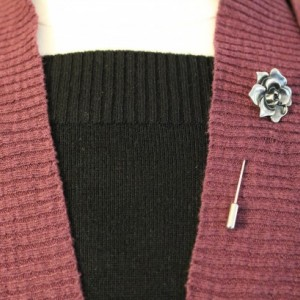 Silver rose sweater pin