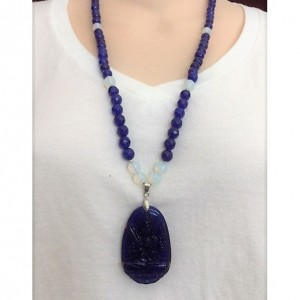 Blue and White Beaded Necklace, Buddha Pendant Necklace