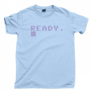 Commodore 64 Ready Men's T Shirt, C64 Boot Screen 80s 8-Bit Home Computer Unisex Cotton Tee Shirt