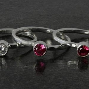 Birthstone Ring - Stacking Ring - Silver Birthstone Ring - Birthstone Jewelry