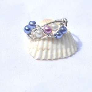 Pearl ring, white pearl ring, purple and white, faux pearl,  silver plated wire, wire ring, handmade