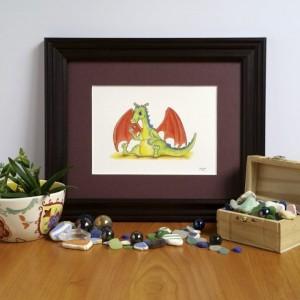 Baby Dragon Fine Art Print, Child's Illustration, Nursery Decor, Playroom art print, Knight and Dragon, Princess and Dragon, Dragon artwork
