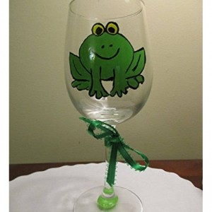 Hand Painted Wine Glass Frog with Big Eyes