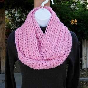 Women's Pink INFINITY COWL SCARF Solid Light Pink, Soft Lightweight Crochet Knit Small Winter Circle Loop, Neck Warmer..Ready to Ship in 2 Days