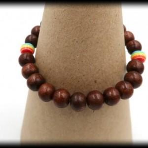 Teak Wood LGBTQ Pride Bracelet for Wealth and Abundance