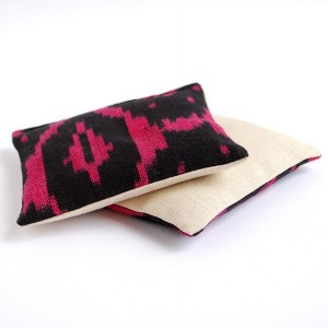 Black and Magenta Ikat Cotton & Linen Organic Lavender Sachets