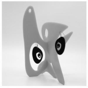 The Modernist Blue Earring Stabile Sculpture - MODular by Atomic Mobiles Mod Statement Earrings + Art Sculpture - Gift For Her - Earrings
