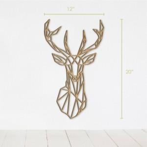 Geometric Deer Wall Art, Geometric Animal Wood, Home Decor, Living Room Decor, Animal Decor