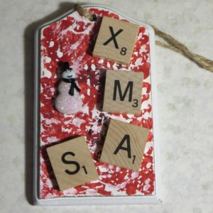 Scrabble® Game Tile Christmas Ornament (FREE SHIPPING!) Xmas Red